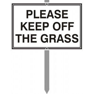 """12"""" x 8"""" Please Keep Off The Grass Sign with stake"""
