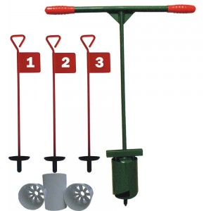 Home Golf Practice Set - Holecutter, 3 Pins & Cups