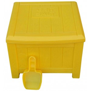 Salt / Grit Bin - Yellow - Complete With  Scoop