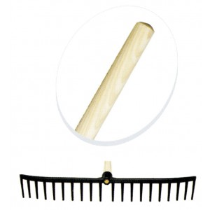 "Plastic Rake Head With 54"" Wooden Handle"