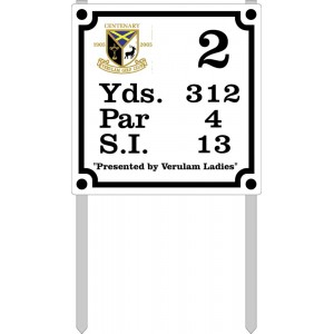 """9"""" X 9"""" Tee  Plate (Cust/Logo) With Stakes"""