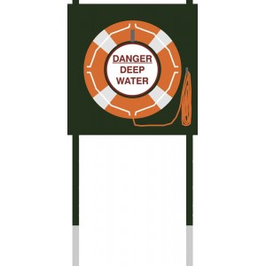 Deluxe Life Buoy Post With Danger Sign, Life Buoy & Floating Line